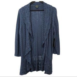 LAUREN RALPH LAUREN Cotton long Lacy Cardigan. Flexible size XL to 2X